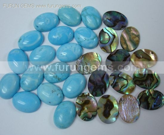 howlite,abalone shell 14x10mm oval cabs