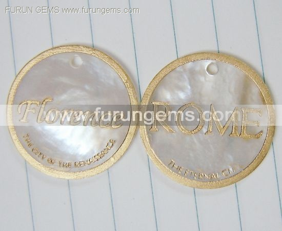 MOP coin beads engraved words