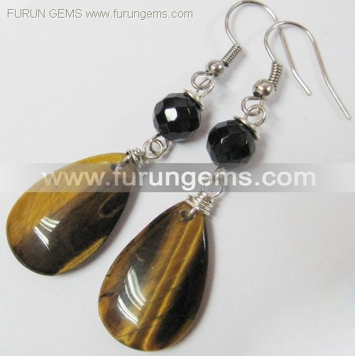 tiger eye pear earring