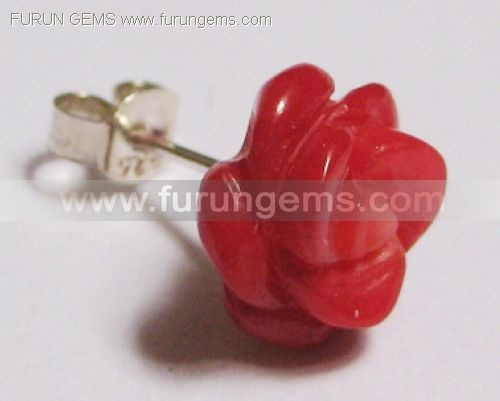 red coral flower earring