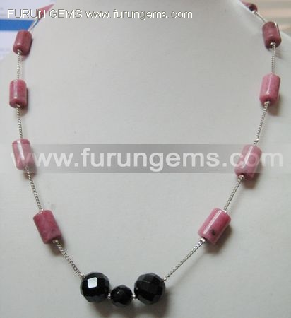 rhodonite tubes necklace