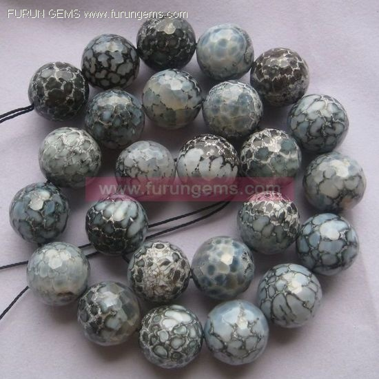 Binghua agate faceted 16mm round beads