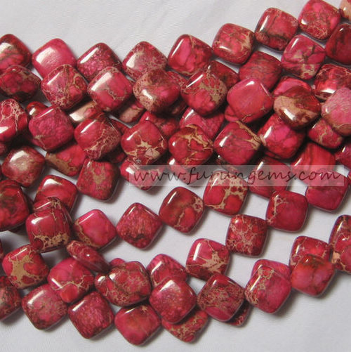 red Imperial stone square beads 12x14