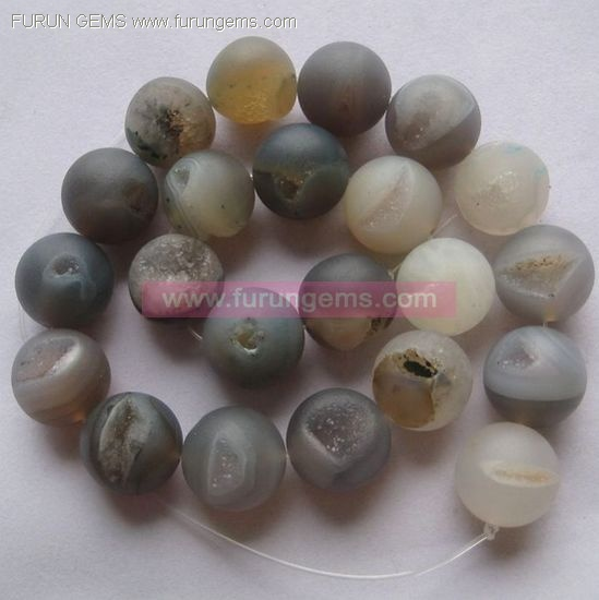 Miarolitic agate round beads  18mm