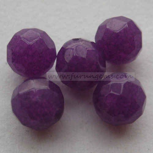 purple jade faceted round beads half hole