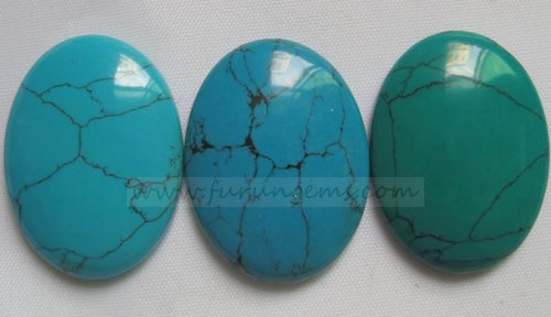 synthetic turquoise oval cabochons 25x35mm
