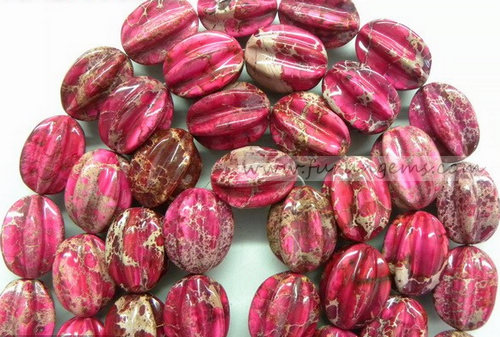 red Imperial jasper carambola beads
