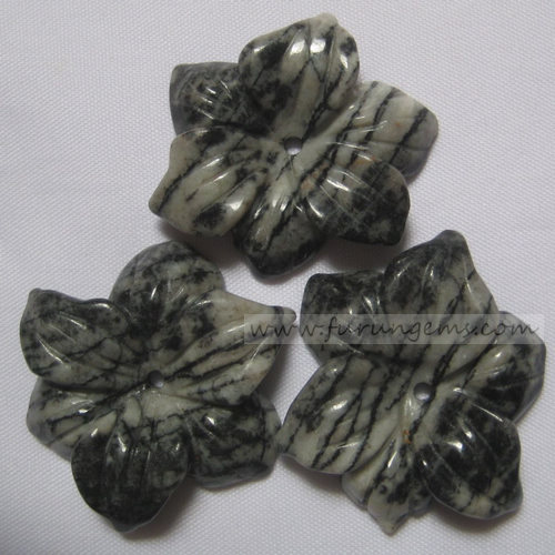 Chinese picasso jasper flowers carvings 15-50mm