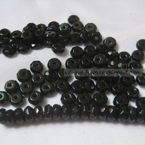 black agate faceted roundel beads 6x3mm