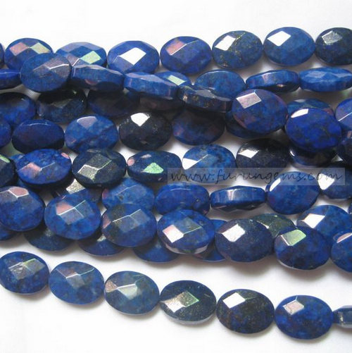 Lapis faceted oval beads 16x12mm