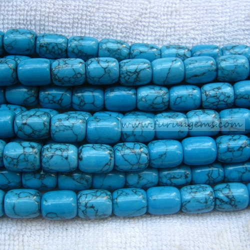 blue turquoise tube beads 10x12mm