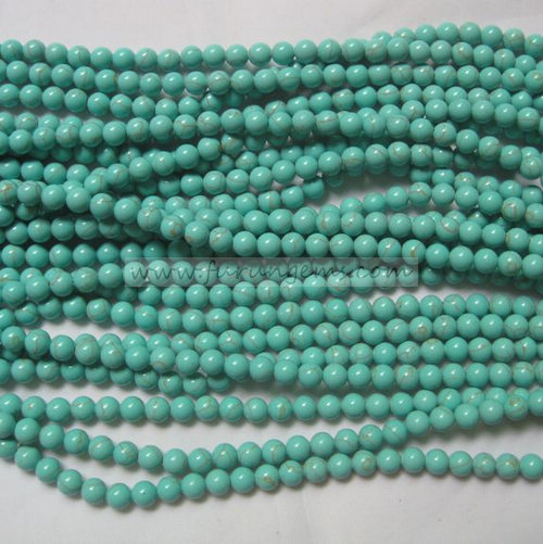 green turquoise round beads 6mm