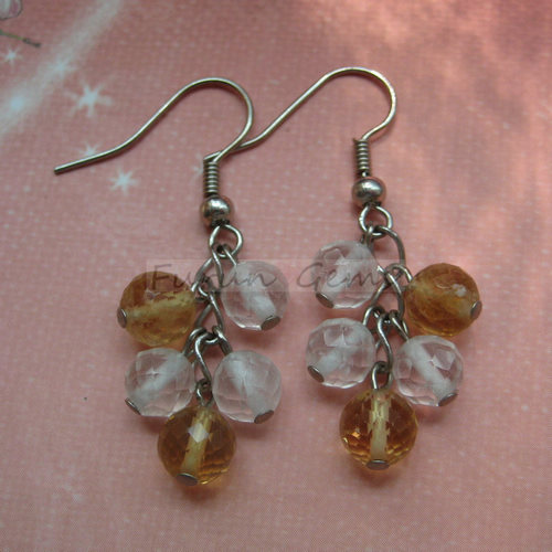 crystal,citrine 6mm faceted round beads earring