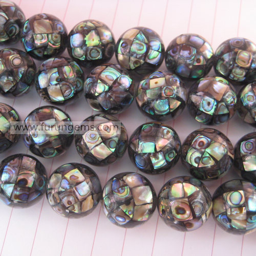 abalone shell black mosaic round beads