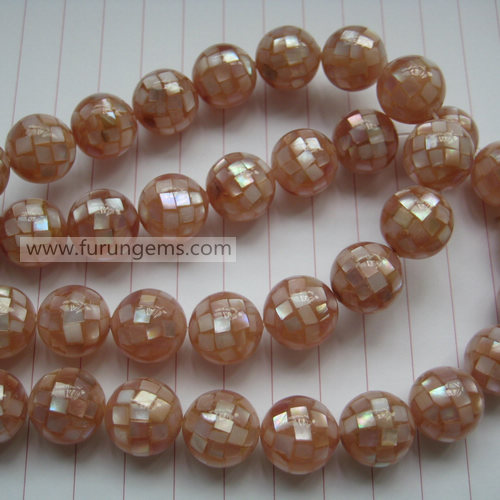 pink MOP mosaic round beads 12mm