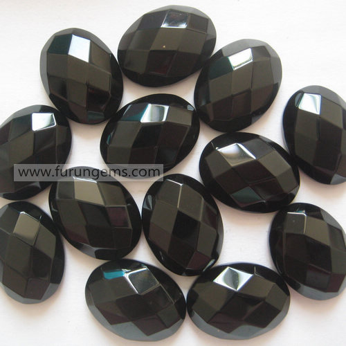 black agate faceted oval cab 15x20mm