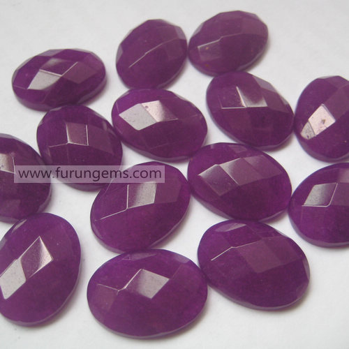 purple jade faceted oval cab 20x15mm