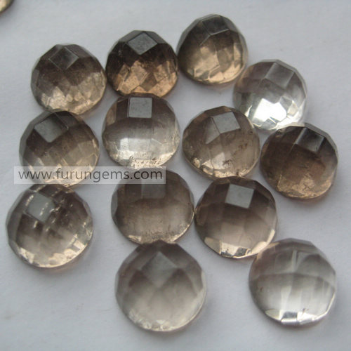 smoky quartz facted round cab 10mm