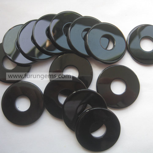 black agate flat donut 40mm