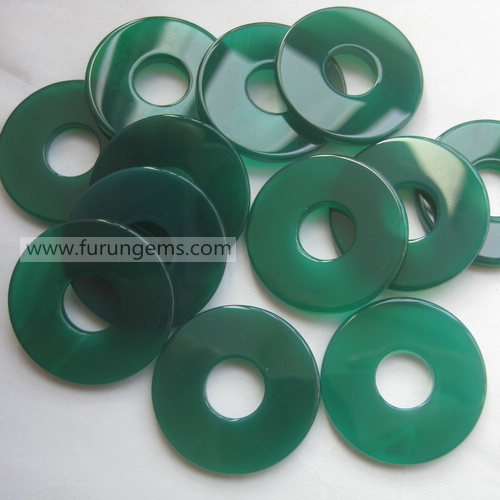 green agate flat donut 40mm